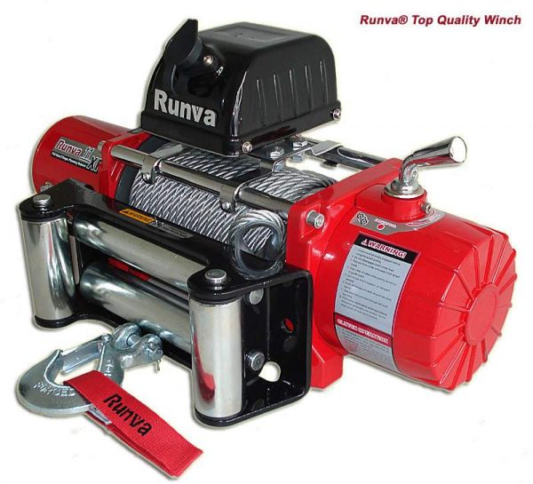 Runva 11XP 11000lb Electric 4wd winch with 26 5m Steel Cable RED
